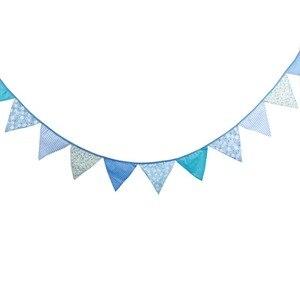 Image 5 - 12 drapeaux 3.2m bleu guirlandes pour anniversaire coton banderoles bannières fanion bébé douche mariage guirlande drapeaux pour la décoration de fête