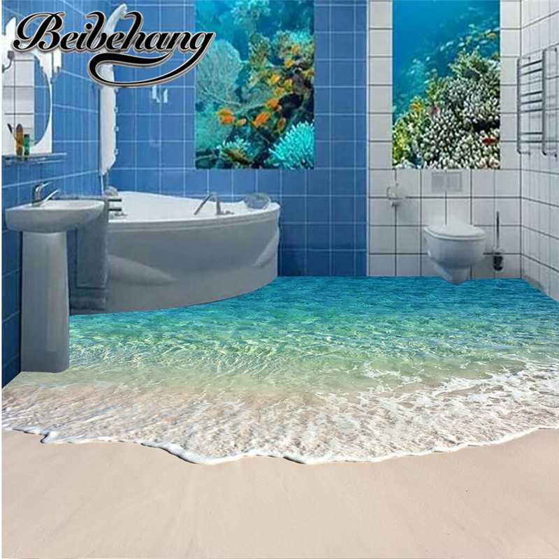 beibehang Custom Decorative Bedroom Living Room Self-adhesive Floor Painting Flooring Small Beach Modern 3D Floor Wallpaper  beibehang wallpaper custom home decorative backgrounds powerful bear paintings living room office hotel mural 3d floor painting