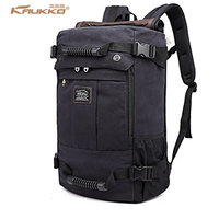 KAUKKO Canvas Multi Function Men Travel Backpack Rucksack Women Shoulder Luggage Bag