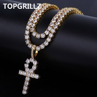 TOPGRILLZ Hip Hop Ankh Cross Pendant Necklace Two Tennis Chains All Iced out Micro Pave AAAA+ Cubic Zirconia Necklace for Men
