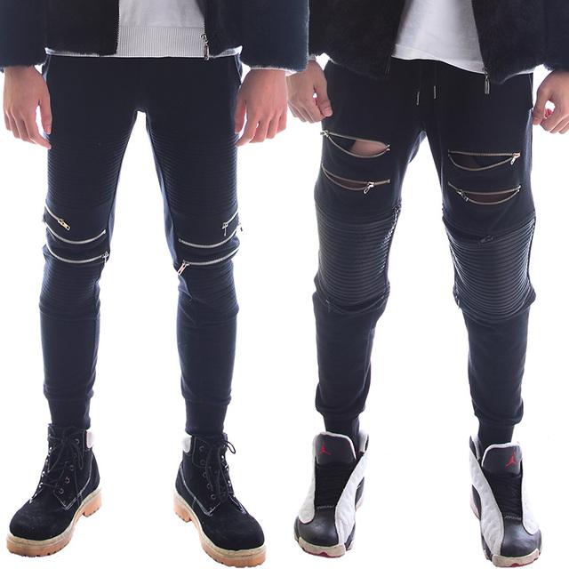 2017 homens da moda novidade casual preto calças compridas zipper calças boate cantor dançarino dj stage desempenho traje trsousers
