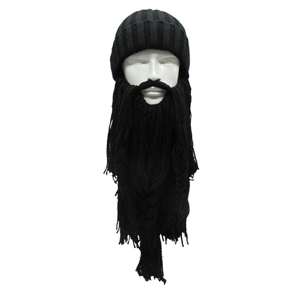 277526528 High Quality Winter Warm Wool Handmade Beanie Viking Beard Face Mask  Crochet Winter Ski Cosplay Prop Caps Funny Hats New Gift