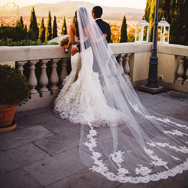 Novas fotos reais branco/marfim appliqued mantilla velos de novia véu de casamento longo com pente acessórios de casamento ee2003