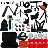 BYNCG Go Pro Accessories Set with Case Bag Monopod Chest Head Hemelt Strap Belt Head Float Suction Cup Mount for GoPro Hero 3456