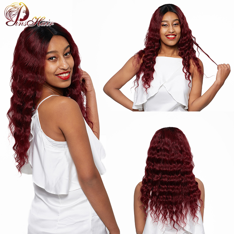 Pinshair 1B/99J Lace Front Human Hair Wigs For Black Women Burgundy Ombre Peruvian Non-Remy Loose Deep Wave 4*4 Closure Hair Wig