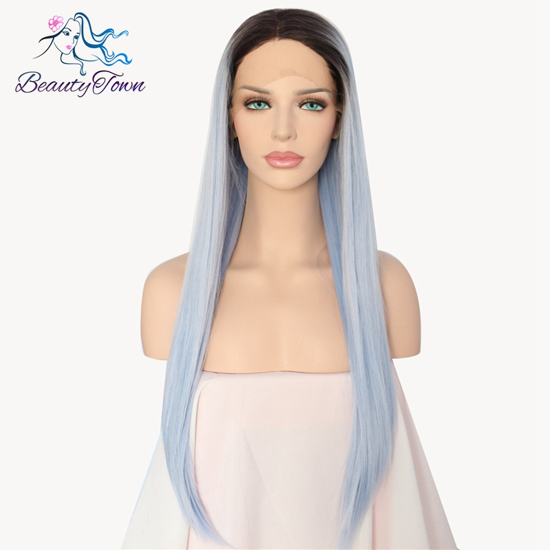 BeautyTown Dark Roots To Light Blue Ombre Synthetic Lace Front Wig Long Straight Heat Resistant Fiber Hair Wigs For Women barra de porta