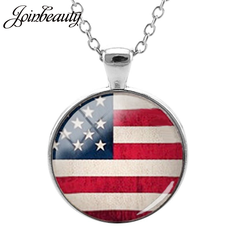 JOINBEAUTY Map Earth Art Picture Round Glass Pendant Necklace United States Map Necklace For Women Girl jewelry T234 thumbnail