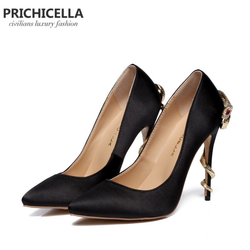 PRICHICELLA/атласные золотые туфли под платье на каблуке под змеиную кожу; уникальные туфли лодочки на высоком каблуке с острым носком из натуральной кожи - 2