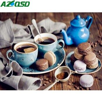 AZQSD DIY ciasto do kawy malowanie przez numery deser farby na płótnie obraz olejny martwa natura ręcznie żywności malowane nowoczesne SZYH6312
