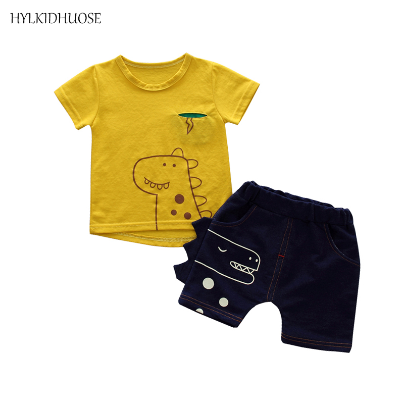 HYLKIDHUOSE 2018 Summer Baby Boys Clothing Sets Infant Clothes Sets Cotton T Shirt Shorts Casual Sports Children Kids Suits