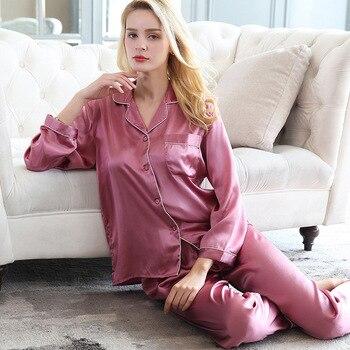 100% Silk Pajamas Set Pijamas Women 2020 2 PCS Slik Sleepwear for Ladies Pajamas Natural Pure Silk Nightshirt Sets Pyjama femme