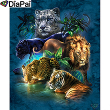 DIAPAI Diamond Painting 5D DIY 100% Full Square/Round Drill Leopard tiger lion Diamond Embroidery Cross Stitch 3D Decor A24476 diapai diamond painting 5d diy 100% full square round drill animal lion diamond embroidery cross stitch 3d decor a24702