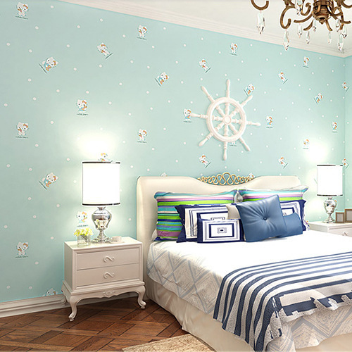Cute Kitty Childrens Room Blue Woven Wallpaper Boys And Girls Bedroom Backdrop Specials