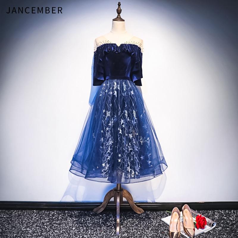 JANCEMBER Light Luxury 2019 Latest Cocktail Dress Illusion V Neck Short Sleeve Crystal Applique Lace Up Back vestidos social