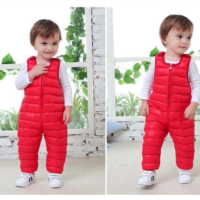 Детские Дети вниз комбинезон для мальчиков и девочек ветрозащитный Теплый пуховик комбинезон для зимние детские брюки комбинезон зимняя одежда для детей