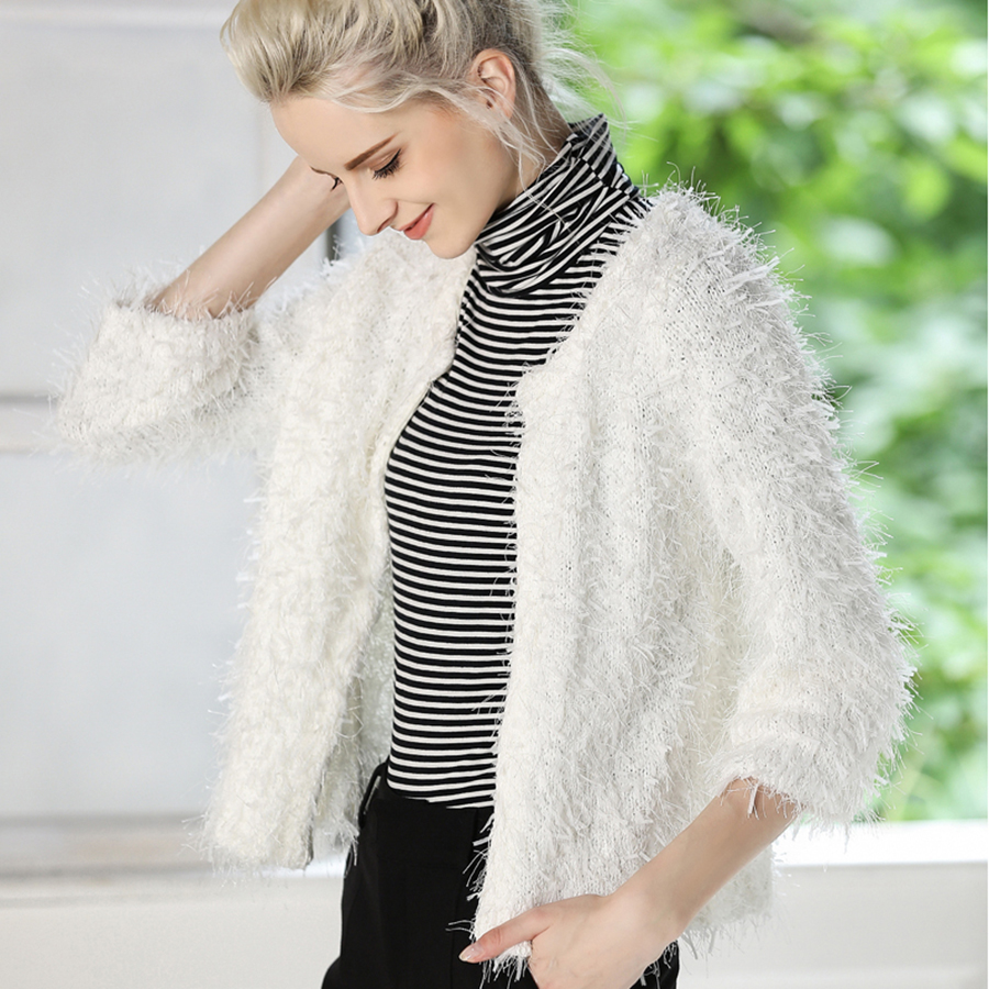 Cashmere White Sweater Women Warm Cardigan Ladies Knitted ...