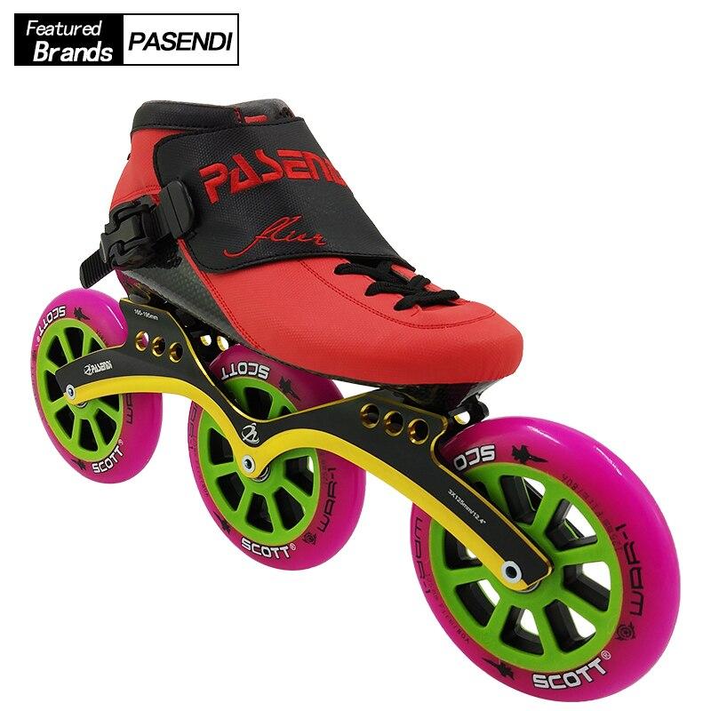 PASENDI Professional 125 MM roues chaussures de patinage de vitesse patins à roulettes adultes enfants chaussures de Skate en ligne Patine 3x125 cadre femmes hommes
