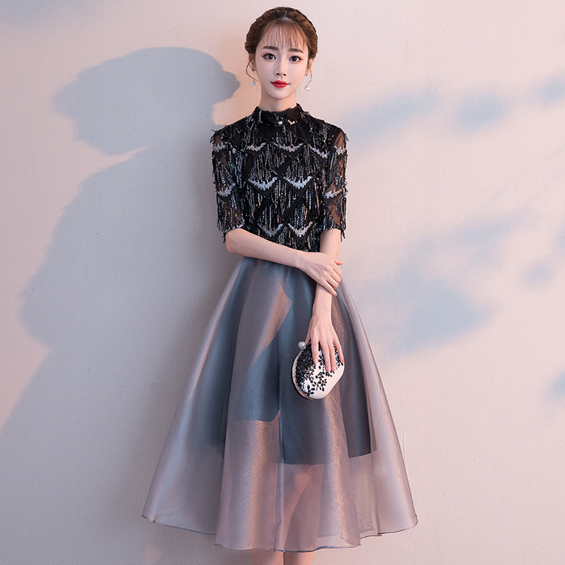 Banquet Evening Dress Female 2019 New Noble Ladies Party Small Dress Slim Dress Black Temperament Long Section