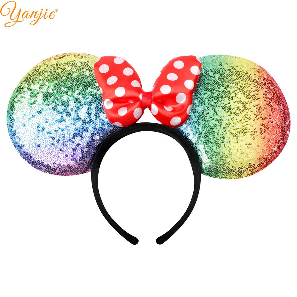Us 11 99 20 Off Classical Summer Travel Kids Girl Big Minnie Mouse Ears Dot Padded Bow Hairband Fashion Diy Hair Accessories For Women Headwear In