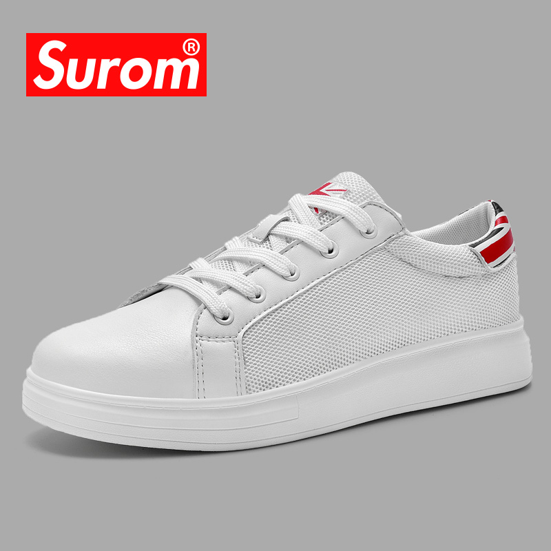 SUROM Casual Shoes Men's Summer Mesh Skate Shoes Lace up Flat Skater Sneakers Male odor-resistant Krasovki Breathable Shoes