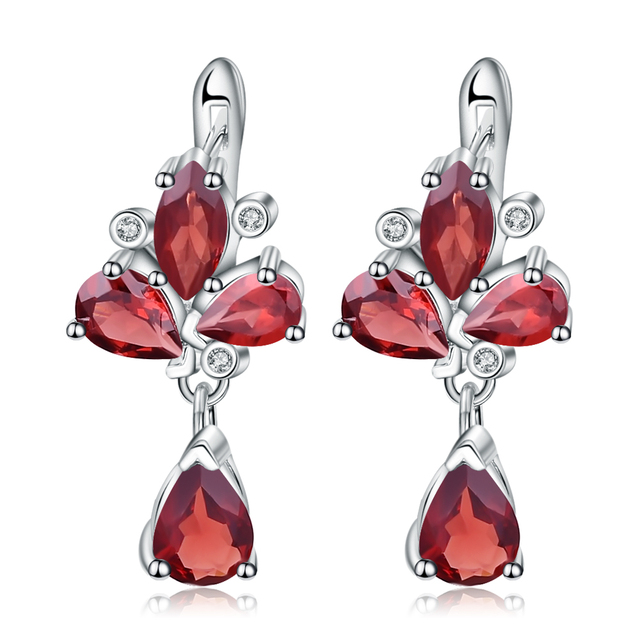 GEM'S BALLET 6.84Ct Natural Red Garnet Flower Earrings 925 Sterling Silver Gemstone Drop Earrings For Women Fine Jewelry