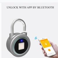 Smart Keyless Bluetooth Lock Fingerprint IOS Android APP Control Electric Padlock Waterproof IP65 Cabinet Portable Door Lock