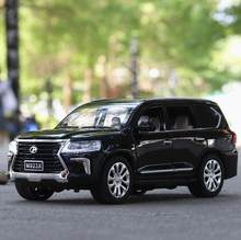 Hot scale 1:24 wheels toyota lexus LX570 luxury suv metal model pull back alloy toys diecast car with light and sound collection(China)