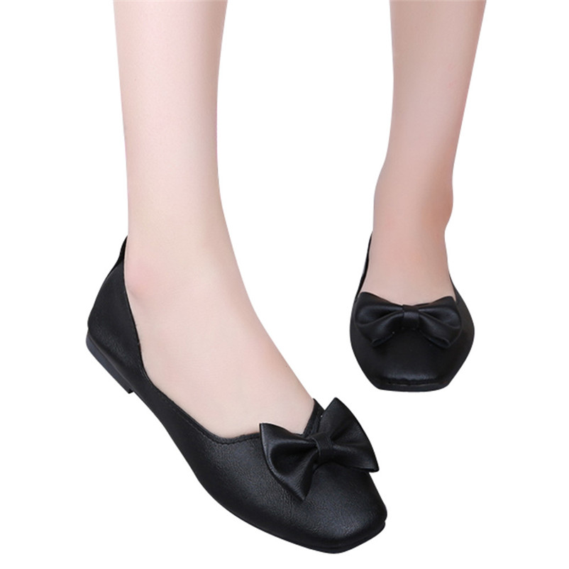 2018 women's PU leather bowknot flat shoes square shallow buckle flat low heel boat comfortable shoes pointed single shoes #40A цена 2017