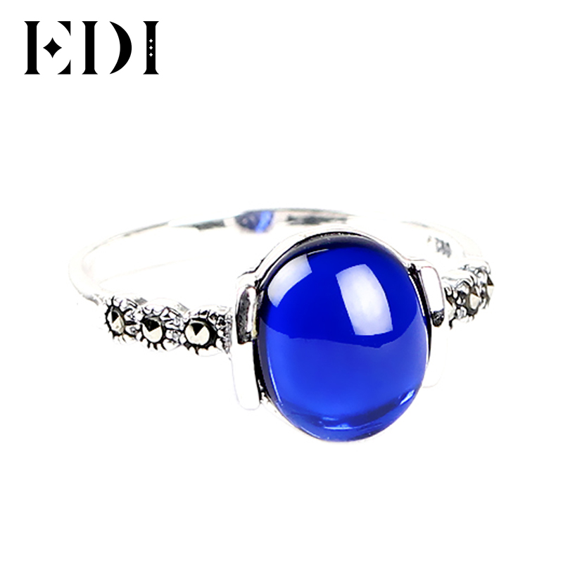 EDI 925 Silver Rings4 Color Wedding Rings Vintage Red Garnet For Women Retro Natural Stone Silver Ring Set Female Jewelry Gift