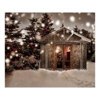 Noel Ağacı Küçük Kabin Çocuk Bebek 7X5ft Fotoğraf Stüdyo Arka Plan Vinil Dijital Kumaş Fotoğraf Arka Planında