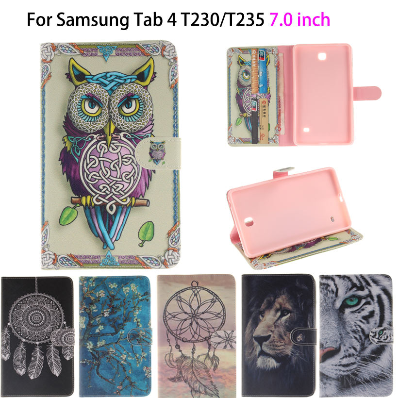 Tiger Owl Girls Painted Flip Silicon Leather Case For Samsung Galaxy Tab 4 7.0 T230 T231 T235 SM-T230 Cover tablet Funda Shell stylish owl pattern flip open pu case w holder for 7 samsung galaxy tab 4 t230 t231 t235