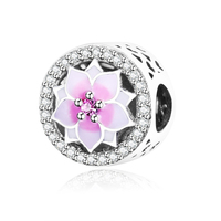 Magnolia Bloom Charm With Pale Cerise Enamel And Pink CZ Fit Pandora Charms Bracelet Original 100
