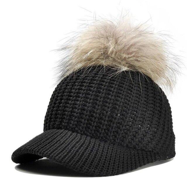 bdde1539cd2fe 2018 Fur Ball Pompoms Warm Cap Winter Baseball Cap Women s knitting Woollen  Hat