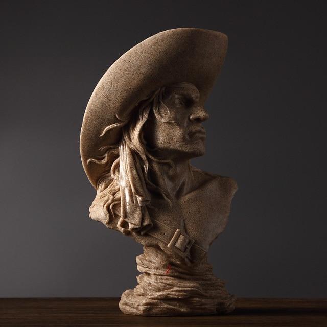 Abstract Cowboy Bust Handmade Sandstone Hunter Sculpture Portrait 4