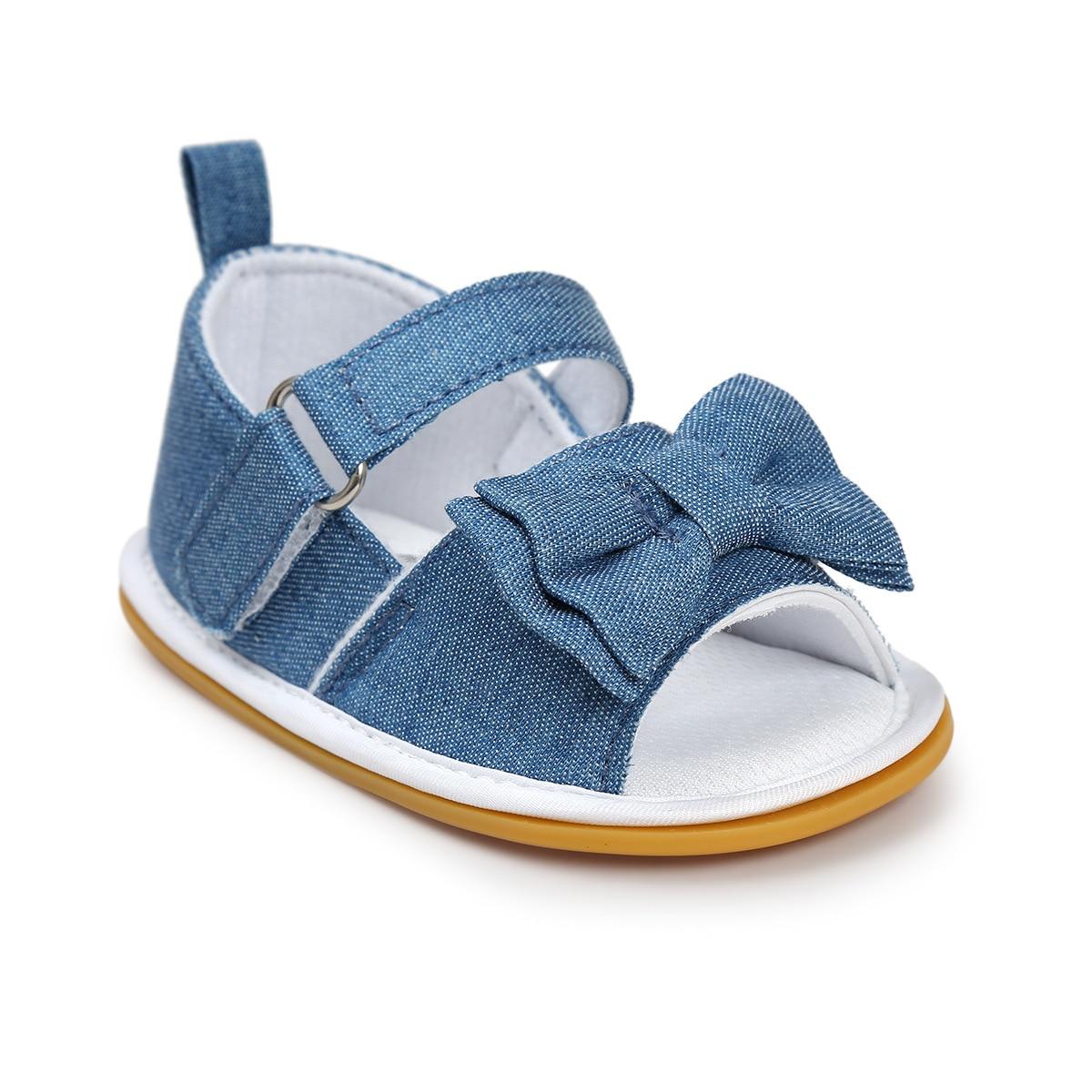Peuter Schoenen Populaire Baby Meisjes Zomer Boog Haak Gestreepte Sandalen Antislip Soft Casual Schoenen 0-18 M Yu