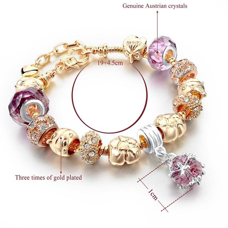 Szelam Ženski modni nakit Pink Kristalna narukvica za žene Zlatne - Modni nakit - Foto 2