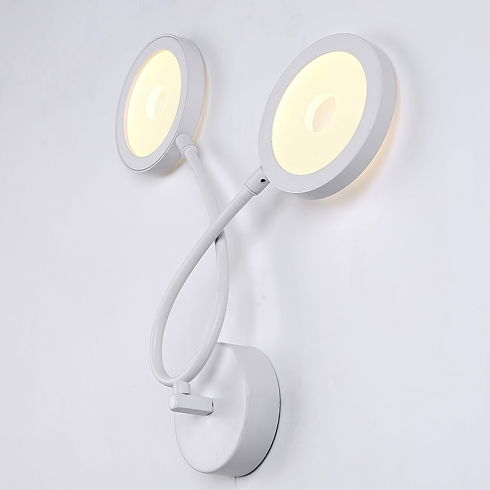 Dual Head Wall Sconces Modern Brief Bedroom Study Wall Lights Warm Light Simple Bedside Lamp Creative Living room Wall Lamps 2 colors modern iron wall lamp adjust angle arm bedroom study room work place e14 ac110v 240v wall light sconces fixtures