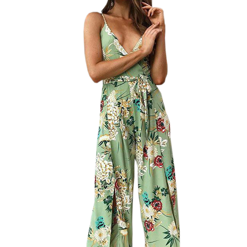 Boho Summer Women Jumpsuits Floral Printed Spagehetti Strap Beach Playsuits Overalls Sexy Split Lady Sleeveless Jumpsuit GV078