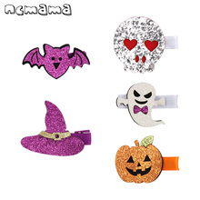 2Pcs Halloween Funny Glitter Hair Clips for Baby Girls Barrettes Handmade Bat/Pumpkin Hairgrips Party Gifts Kids Headwear