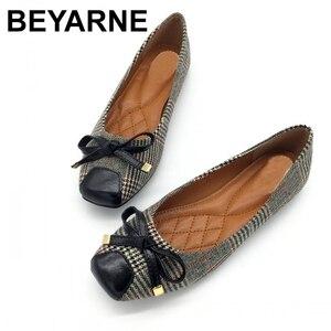 Image 1 - BEYARNE נעלי נשים בלט דירות נעליים להחליק על אביב סתיו רדוד אישה אחת נעלי גבירותיי נקבות עבודה הנעלה ZapatosE225