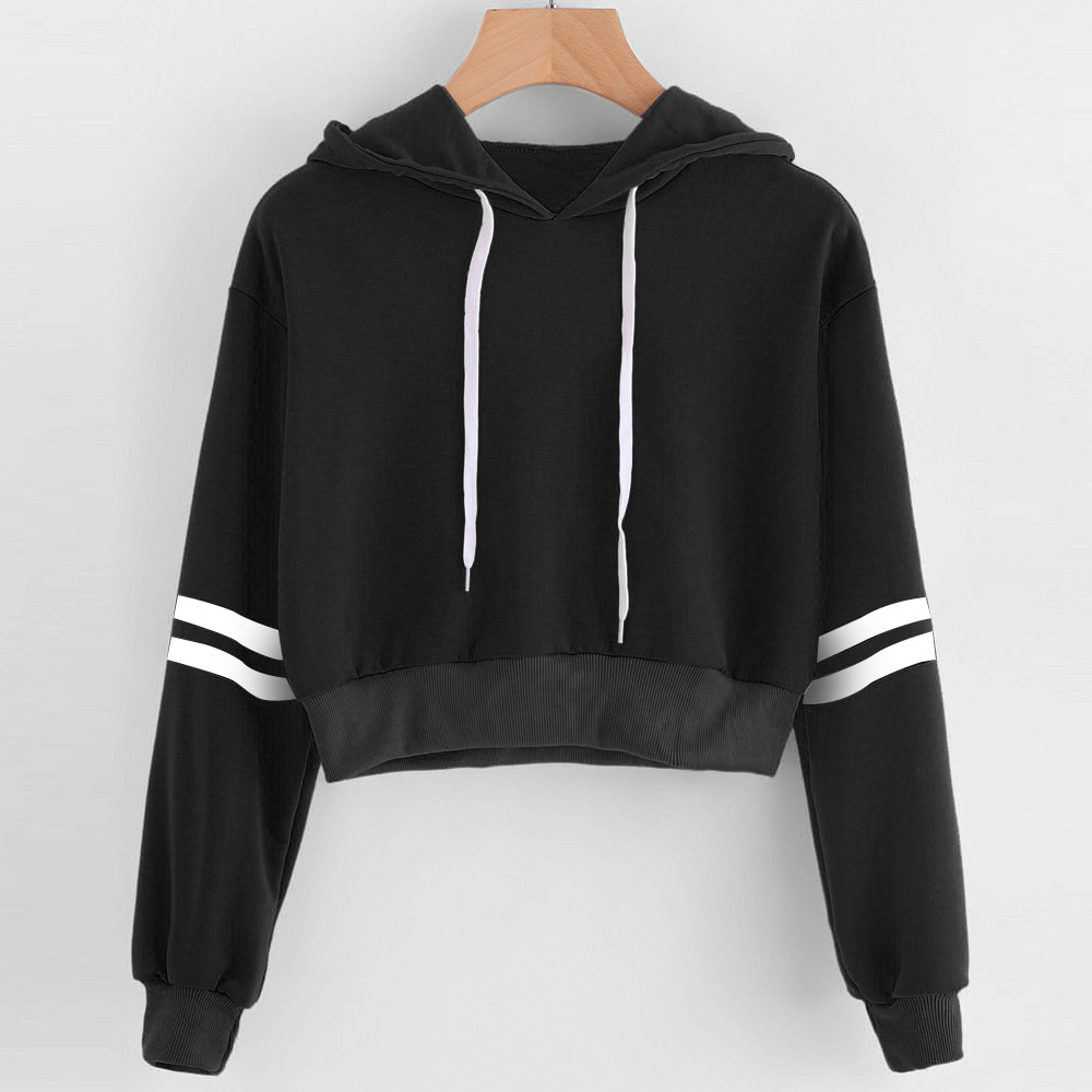Women sweatshirt hoodies Autumn Spring Varsity-Striped Drawstring Crop Hooded Jumper Casual Crop pullovers Tops sudadera mujer