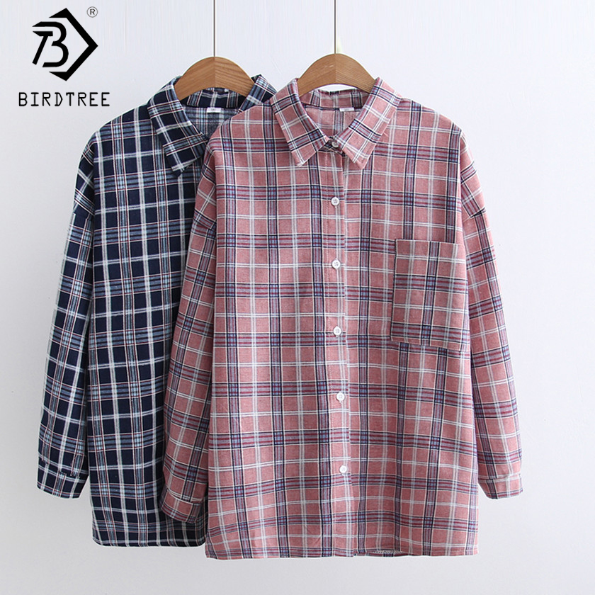 2017 New Autumn Blue Blouse Plaid Korean Women Shirt Turn Down Collar Pockets Vintage Top Solid Female Shirt New Arrival T79834A ...