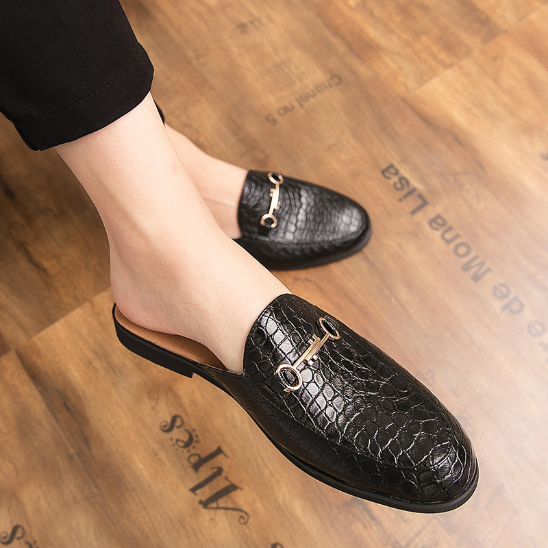 Macvise Brand Summer Men Slippers Male Leather Flip Flops Snake Print Vintage Casual Beach Sandals N