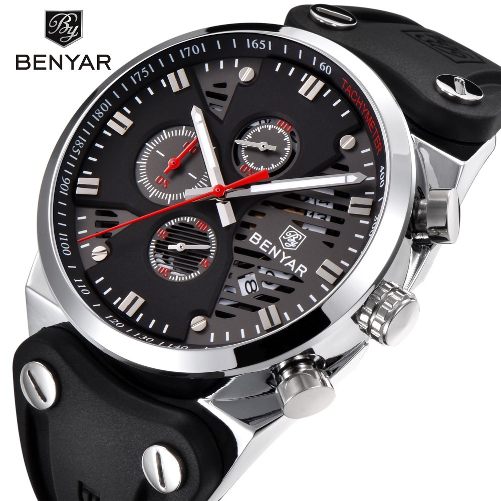 BENYAR Watch Men Fashion Sport Quartz Clock Mens Watches Top Brand Luxury Silicone Business Waterproof Watch Relogio Masculino xinge top brand luxury leather strap military watches male sport clock business 2017 quartz men fashion wrist watches xg1080