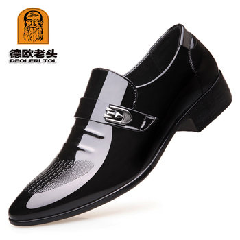 Newly Men's Quality PU Leather Shoes Zapatos de hombre Size 38-44 Black Leather Soft Man Business Leather Shoes
