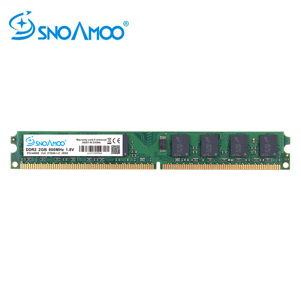 SNOAMOO Desktop PC DDR2 2GB Ram 800MHz 667Mhz PC2-6400U CL6 240Pin 1.8 V Memory For Intel Compatible Computer Memory