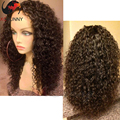 100% sin procesar virginal brasileño del pelo humano del frente del cordón pelucas 130 densidad Curly Glueless peluca llena del cordón brasileño peluca rizada