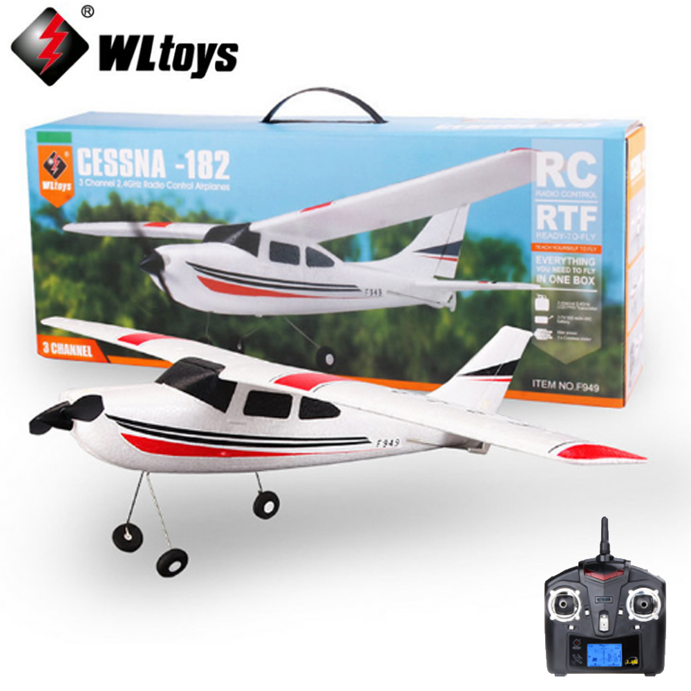 WLtoys Original F949 2.4G 3 Coreless Motors Cessna-182 model pane RC Airplane Long Distance Flying Fixed Wing Plane радиоуправляемый гидроплан art tech cessna 182 2 4g 2101t