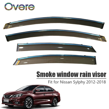 Overe 4Pcs/1Set Smoke Window Rain Visor For Nissan Sylphy 2012 2013 2014 2015 2016 2017 2018 Awnings Shelters Guard Accessories
