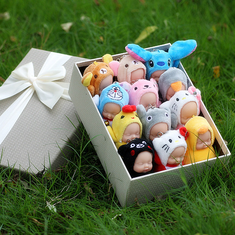 LANTIGER 20pcs lot Fashion Lovely Plush Sleeping Baby Dolls Pendant Keychain Toys Baby Bear Baby Rabbit